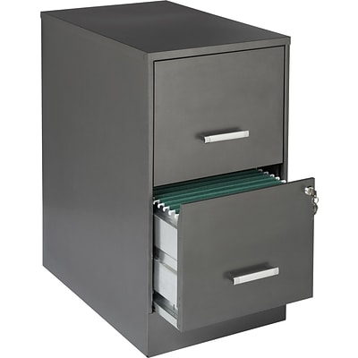 Office Designs 2 Drawer Vertical File Cabinet, Metallic Charcoal, Letter, 22D (16253)