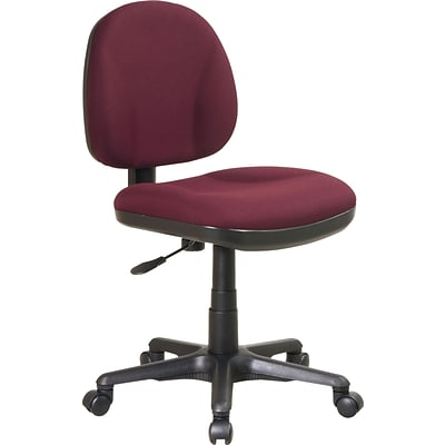 Office Star & trade, Deluxe Armless Task Chair, Burgundy