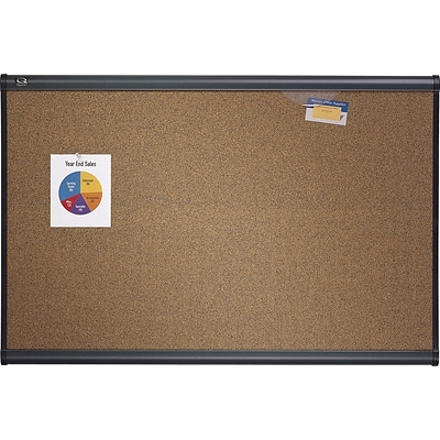 Quartet® Prestige® Colored Cork Bulletin Board, 3 x 2, Graphite Finish Frame