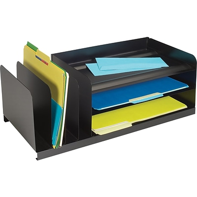 STEELMASTER® Legal-Size Combination Organizer, 3 Hoirzontal/3 Vertical Slots, Black (264202004)