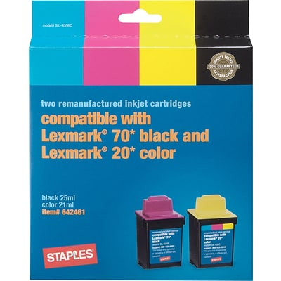 Staples® Remanufactured Inkjet Cartridge, Lexmark #20/70 (12A1970/15M0120), Black, Color, Combo Pack
