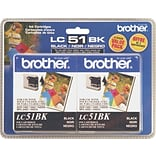 Brother® LC51BK (LC51BK2PKS) Black Ink Cartridges Multi-pack (2 cart per pack)
