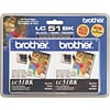 Brother LC-51 Black Standard Yield Ink Cartridge, 2/Pack (LC-51BK2PK)
