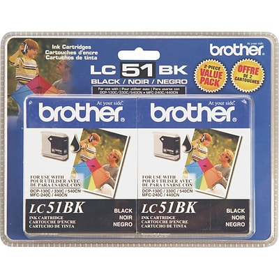 Brother Genuine LC51BK2PKS Black Original Ink Cartridges Multi-pack (2 cart per pack)