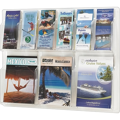 Safco® Deluxe Crystal-Clear One-Piece Literature Organizer, 6 Pamphlet/3 Magazine Pockets