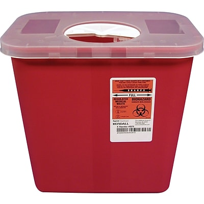 Unimed Sharps 2 Gallon Container w/ Rotor Lid, Red