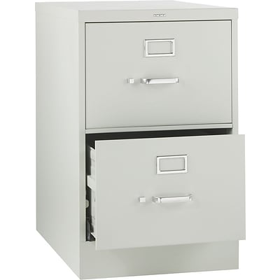 HON® 320 Series Vertical File Cabinet, 26 1/2 2-Drawer, Legal Size, Light Gray