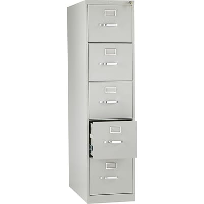 Hon® 210 Series 5-Drawer Vertical File Cabinet with Lock, Light Gray, Letter (215PQ)