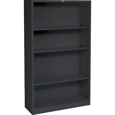HON® Steel Bookcase, Black, 4-Shelf, 59H NEXT2017 NEXT2Day