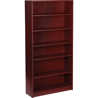 HON® Square-Edge Laminate Bookcases, 72-5/8H, 6 Shelves, Mahogany