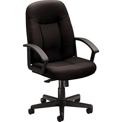 basyx by HON® VL601 High-Back Manager Chair w/Loop Arms, Seat: 20-1/2W x 19-3/4D, Back: 26H x 20-1/2W, Black Fabric