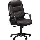 HON® Pillow-Soft 2091 Executive/Office Chair, Leather, Black, Seat: 22W x 18 1/2D, Back: 22W x 25