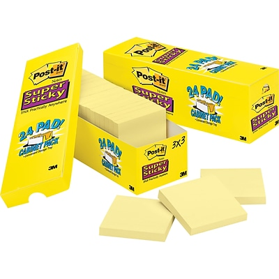 Post-it®, Super Sticky Notes, 3 x 3, Canary Yellow, 24 Pads/Cabinet Pack (654-24SSCP)