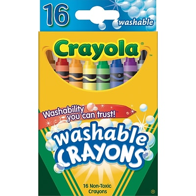 Crayola Washable Ultra Clean Crayons, Assorted Colors,16/Box (52-6916)