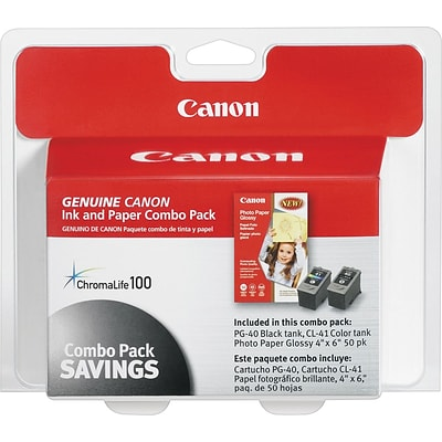 Canon® PG40/CL41 Photo Value Pack, Multi-pack (2 cart per pack)