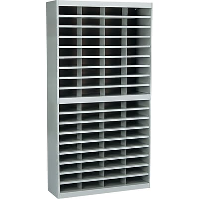 Safco® Steel E-Z Stor® Literature Organizers, 72 Slots, Letter Size, Grey, 71Hx37-1/2Wx12-3/4D