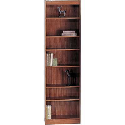 Safco® Veneer Bookcases, 7-Shelf, 24W, Medium Oak