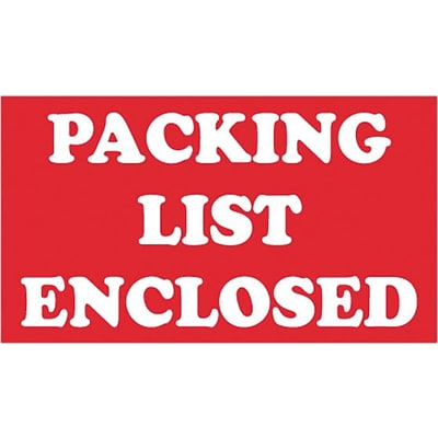 Tape Logic® Labels, Packing List Enclosed, 3 x 5, Red/White, 500/Roll