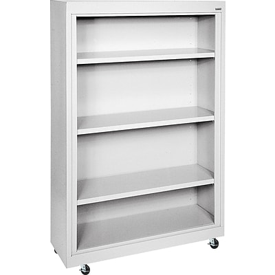 Sandusky Metal Mobile Bookcase in Dove Grey, 58, 4-Shelves