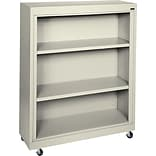 Sandusky Metal Mobile Bookcase in Putty, 48, 3-Shelves