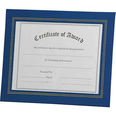 Nu-Dell® Leatherette Framed Certificate Holders, Blue
