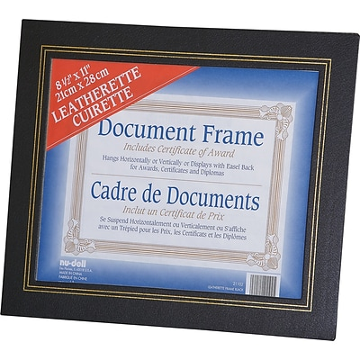 Nu-Dell® Leatherette Framed Certificate Holders, Black