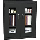 Black Counter-Height Steel Clear View Storage Cabinet