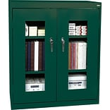 Green Counter-Height Steel Clear View Storage Cabinet