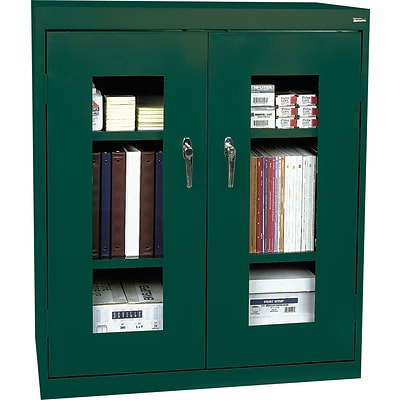 Sandusky® Steel Clear View Storage Cabinet; Counter Height, 42Hx36Wx18D, Forest Green