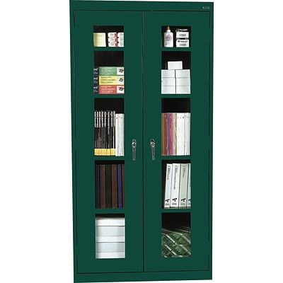 Sandusky® Steel Clear View Storage Cabinet, 72Hx36Wx18D, Forest Green