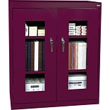 Burgundy Counter-Height Steel Clear View Storage Cabinet