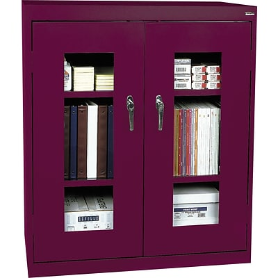 Sandusky® Steel Clear View Storage Cabinet; Counter Height, 42Hx36Wx18D, Burgundy
