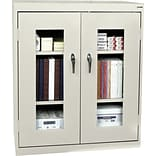 Putty Counter-Height Steel Clear View Storage Cabinet