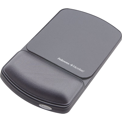 Fellowes® Gel Wristrest/Mousepad with Microban® Protection, Graphite