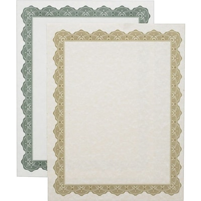 Geographics® Prestigious Blank Award Parchment Certificates, Optima, Green Border, 25 Per Pack