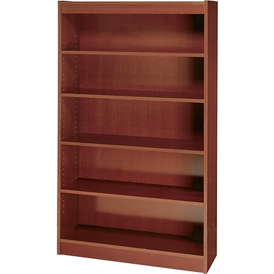 SAFCO Workspace Square Edge Veneer 5-Shelf Bookcase, Mahogany