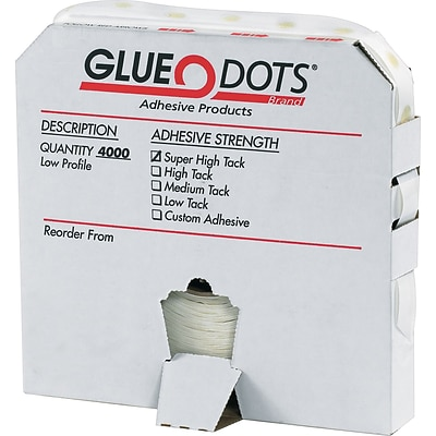 Glue Dots® Dispenser Box, Low Profile, Low Tack, 4000/Case