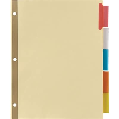 Avery® WorkSaver® Big Tab™ Insertable Dividers, Buff, Multi-Color 5-Tab Set, Copper-Reinforced,48/CT