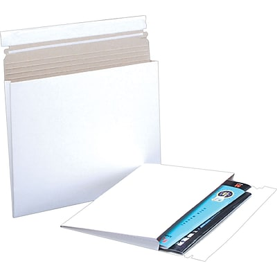 12 1/2 x 9 1/2 x 1 Gusseted Stayflats Mailers, White, 100/Ct (RM2G)