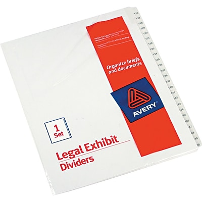 Avery Allstate® Preprinted Legal Side Tab Dividers, Tab Titles 126-150, White, 8 1/2 x 11