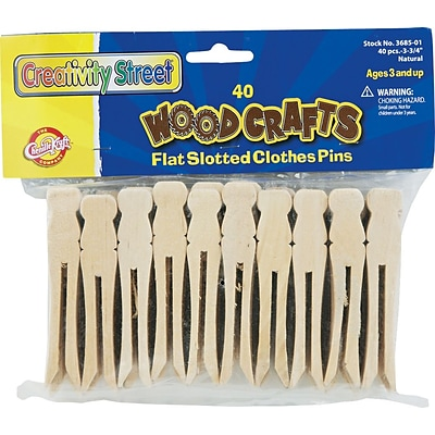 Flat Wood Slotted Clothespins; 3-3/4 Length, 40 per Pack