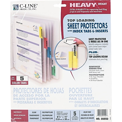 C-Line Top Load Sheet Protector, Assorted Colors, 11 x 8 1/2, 5 Tab