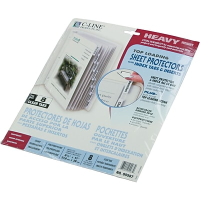 C-Line Top Load Sheet Protector, Clear, 11 x 8 1/2, 8 Tab Set