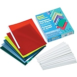 C-Line No-Punch Report Covers for 8 1/2 x 11 Sheets, Assorted Colors, 50/Bx