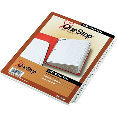 Cardinal® OneStep® Printable Table of Contents and Dividers, Daily - 1-31 Tabs, White, 1/St