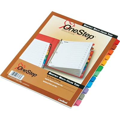 Cardinal® OneStep Monthly Index System, Monthly, Jan-Dec, 12 Tab, Multicolor