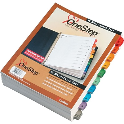 Cardinal® Quickstep® OneStep® Printable Table of Contents and Dividers, 10-Tab, Multicolor, 24/Bx