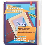 Cardinal® Indexed Tab Pockets for Poly Ring Binders, Multi-Colored