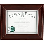 Executive Desktop/Wall Mount Document Frame, 8-1/2 x 11, Mahogany Finish