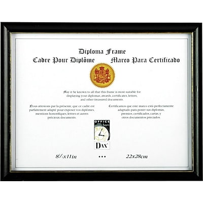 Two-Tone Wood Document/Diploma Frame, Black with Gold Leaf Accents, 8-1/2 x 11